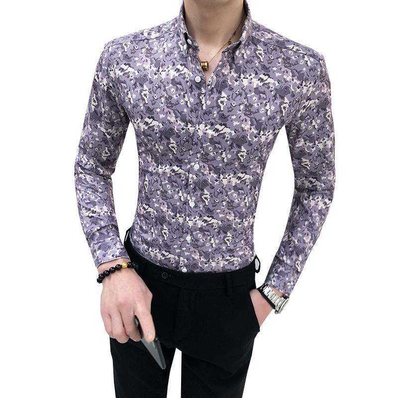 Primavera otoño hombres floral camisa moda 2020 nueva camisa de manga larga flor de flores streetwear impresión digital blusas sociales c1212