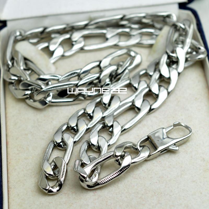 60см, 70см мужская цепочка серебряный тон обоснованной ссылкой из нержавеющей стали Ожерелье 9 мм W N306