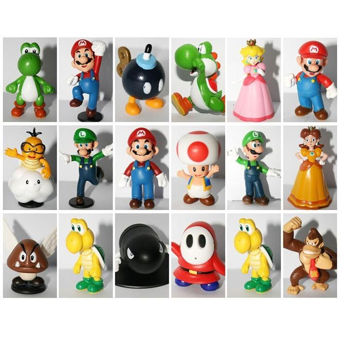 18pcs Super Mario Bros PVC Figures Toy Super Mario 18 styles Mario+Yoshi+Luigi+Bowser Figures 3D Model Collection Dolls
