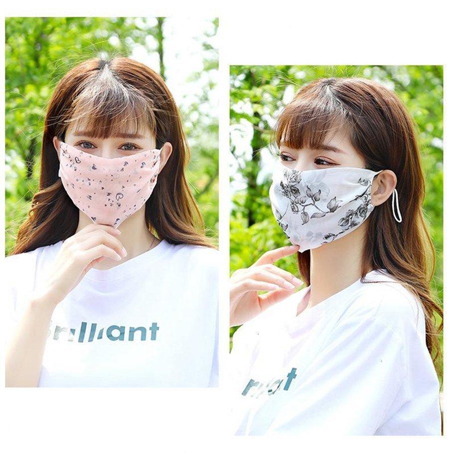 Maschera solare lavabile in chiffon signora lady floral estate rkue # protezione riutilizzabile bocca cover per esterni stampa traspirante stampa viso dda340 maschere pcwbk