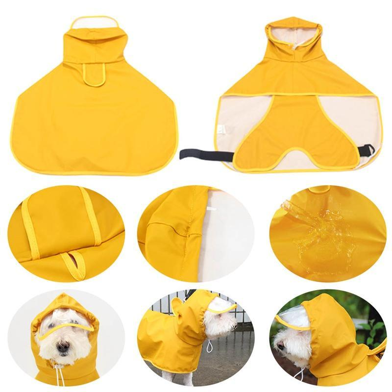 Dog Apparel Cute Leather Pet Raincoat, Belly Protection Cloak, Medium And Large Convenient Clothing, Dog, Teddy, Raincoat