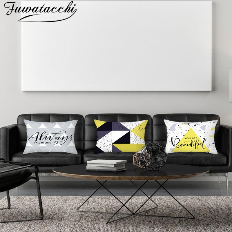 Fuwatacchi foto geométrica foto coxim de veado padrão travesseiro capa para casa sofá assento decoração christmas fronhas 45x45cm