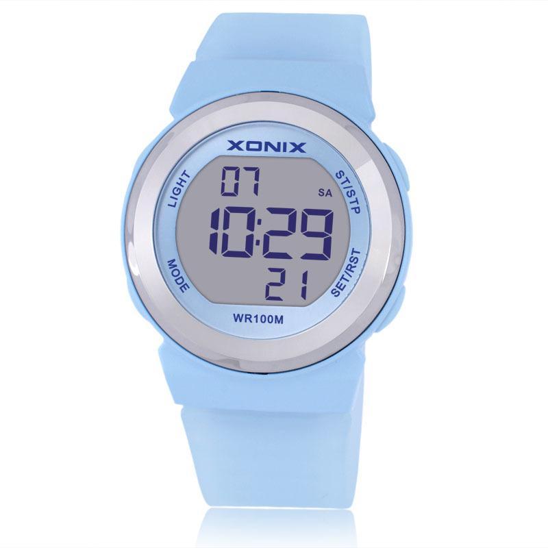 Горячей!!! Лучшие моды женщины спортивные часы водонепроницаемые 100 м женские желейные светодиодные цифровые часы плавательный дайвинг руки часов Montre Femme 20104