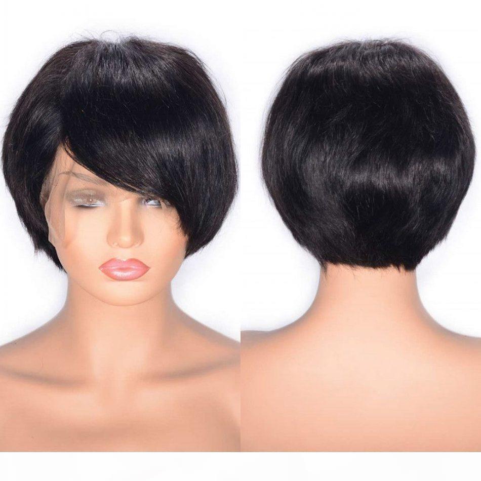 Coiffures droites perruques péruviennes Human Cheveux Dentelle Front Perruque Swiss Dentelle Swiss Courtes Perruques vierges avec cheveux bébé
