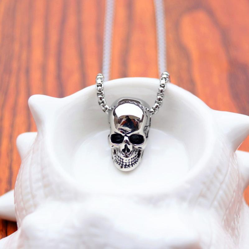 Punk Edelstahl Schädel Anhänger Halskette Vintage Piraten Skeleton Halsketten Für Männer Männliche Halloween Gothic Boho Schmuck 2020