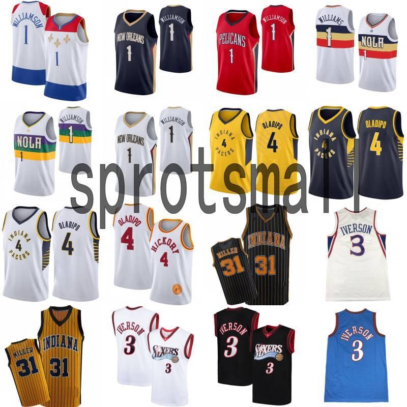 Mens Sion 1 Williamson Victor 4 Oladipo Basketball Jersey Allen 3 Iverson Reggie 31 Miller Retro Jersey