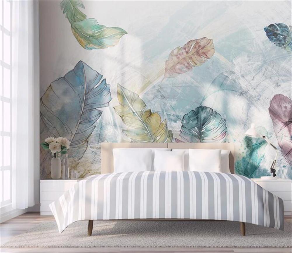Bacal özel İskandinav minimalist suluboya soyut hat sanatı, küçük taze yaprak yatak odası arka plan duvar büyük bir 3D duvar kağıdı duvar