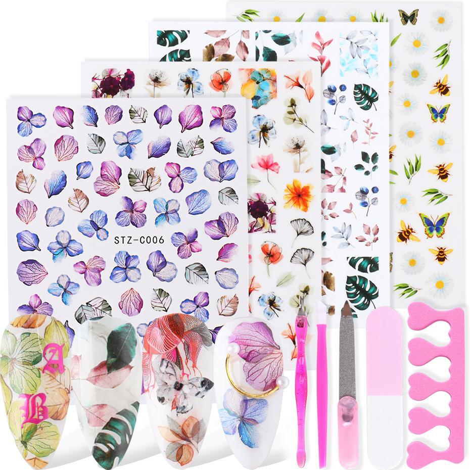 Ortanca Papatya Tırnak Kaydırıcı Yaprak Kelebek Kurutulmuş Çiçek Akçaağaç Lavanta Sticker Yaz Sonbahar Kum Tampon Kalem Seti Sastzc01-11