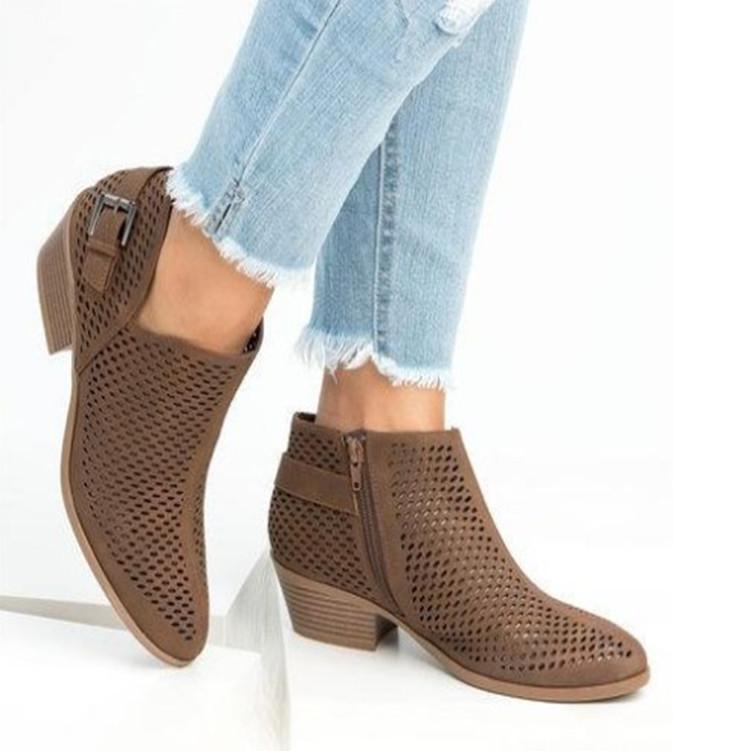 Случайный досуг Женщины Осенние Лодыжки Сапоги воздушной сетки Заостренные носки Винтажные короткими ботинками MED Med Med Solid Winter Shoes Plus Размер