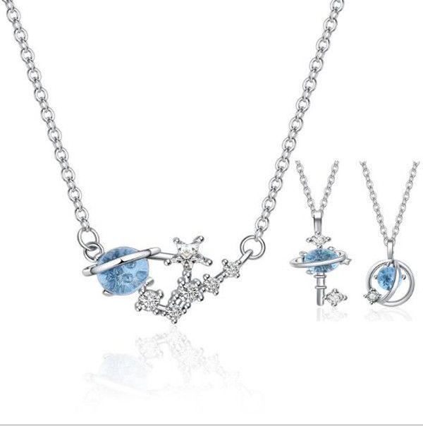 colar de cristal austríaco azul gemstone lua estrela universo espacial chave pingente moda crianças prata gemstone colar atacado