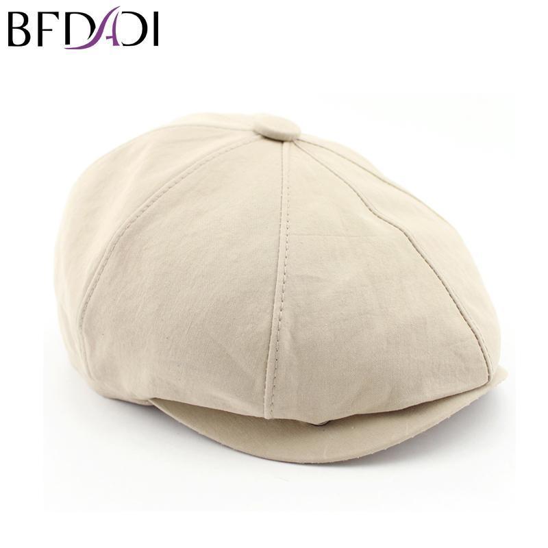 BFDADI 2020 Новый Сплошной цвет Vintage Бекхэм Мужчины Женщины моды восьмиугольная Cap Мужчины Хлопок Восьмиклинка Painter Берет Hat Размер 57-60
