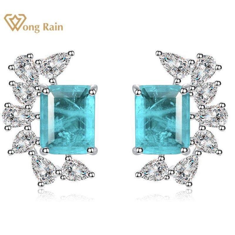 Wong Yağmur 100% Vintage 925 Ayar Gümüş Paraiba Turmalin Gemstone Elmas Küpe Kulak Çiviler Güzel Takı Hediye Toptan Q1214