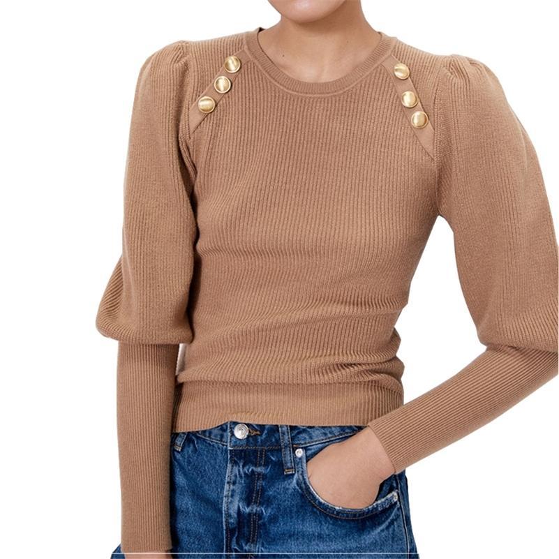 HLBCBG Yüksek Kalite Puf Kollu Bayan Kazak Moda Örme Kazak Kazak Güz Kış Yumuşak Kadın Jumper Top Jersey Çekin 201030