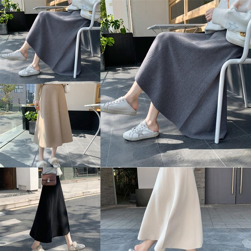 GOXVe Clothing Womens Skirt Knitting Summer Color Crotch Cover Pleated Skirt Sexy Fashionable Solid Color High Waist Skirt Famale long