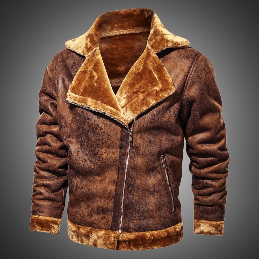 Casacos para homens camurça de inverno jaqueta de couro lapela vintage motocicleta jaqueta homens magro ajuste retro casaco moda outwear pele alinhada y1112
