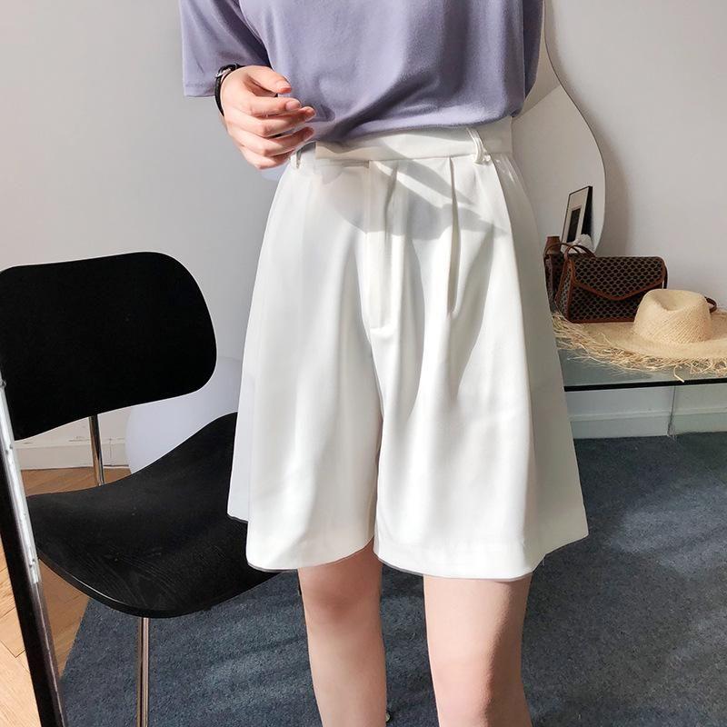 Женские шорты Capris Женщины сплошные белые черные колена длины Blaze Femme Office Lady элегантная высокая талия широкая нога 2021