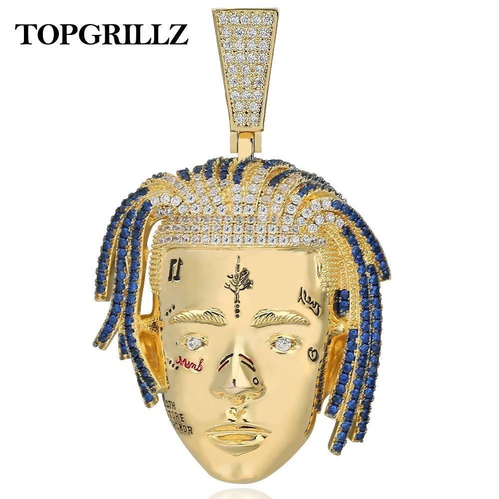 Topgrillz rapper xxx tentacion pingente colar homens gelados para fora Cz correntes hip hop / punk ouro cor encantos jóias presentes j0108