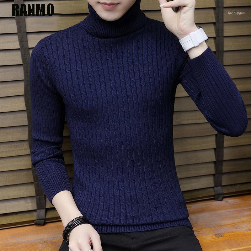 Ranmo Inverno Quente Turtleneck Sweater Homens Manga Longa Slim Casual Pullover Tops Marca Moda Malha Suéteres Jumper Men Roupas1