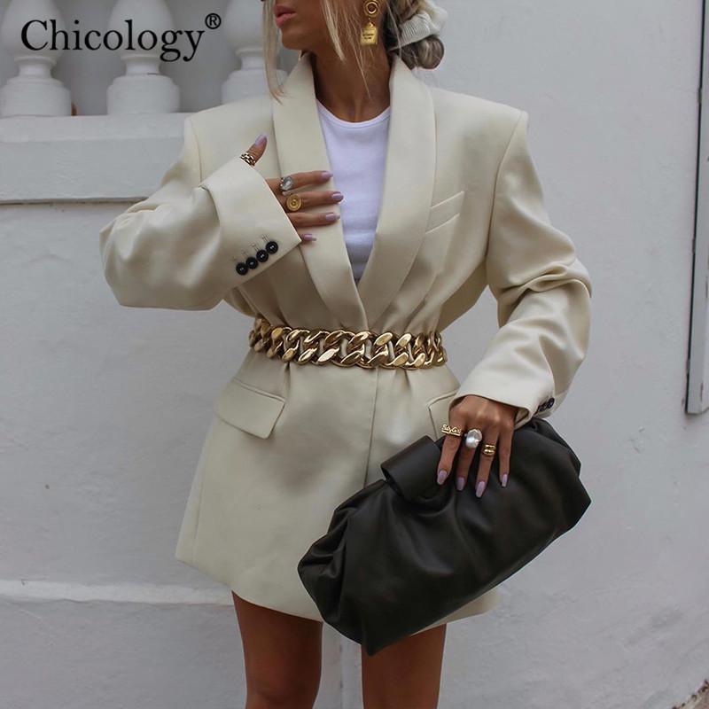 Chicologue Y2K avec la bouteille de la chaîne Blazer Veste à manches longues Femmes Loose Coat 2020 Automne Winter Streetwear Vêtements de mode surdimensionnés x1214