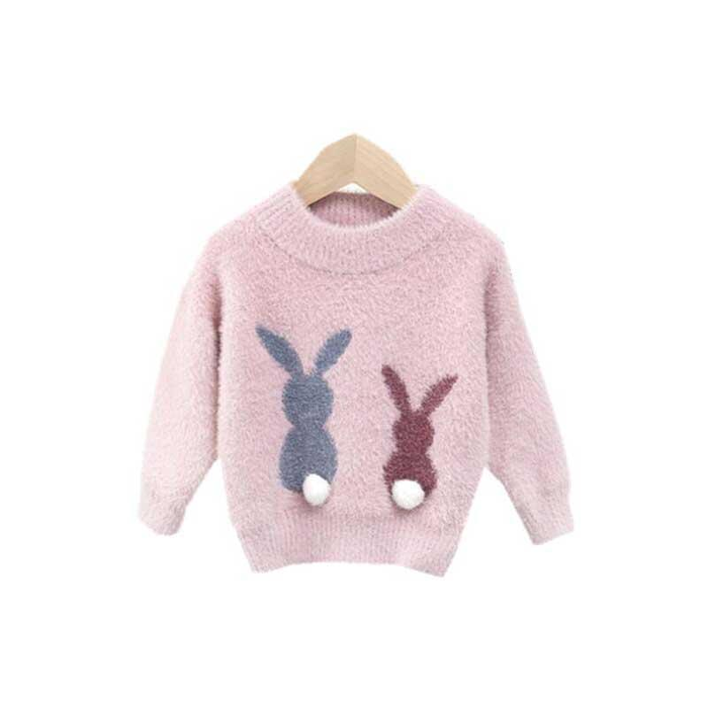 Children Autumn Pullover Clothes Kids Winter Sweaters Mink like hair Long Sleeve Rabbit Design Girls Knit sweater