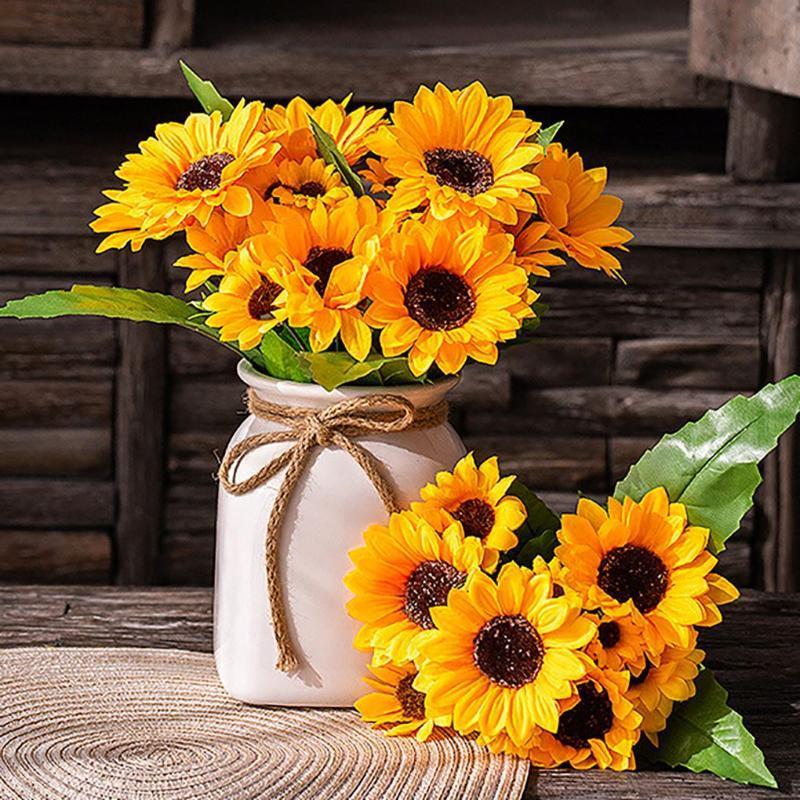 13 têtes belles fleurs artificielles de tournesol de soie jaune 9 branchement / bouquet pour la maison de bureau de bureau jardin décor de mariage