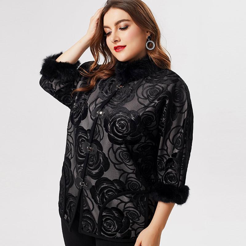 2020 Осень Мама Одежда Женщины Длинные рукавы Пальто Куртка Мода Дамы Винтаж Элегантный Плюс Размер Женские Вышитые Пальто
