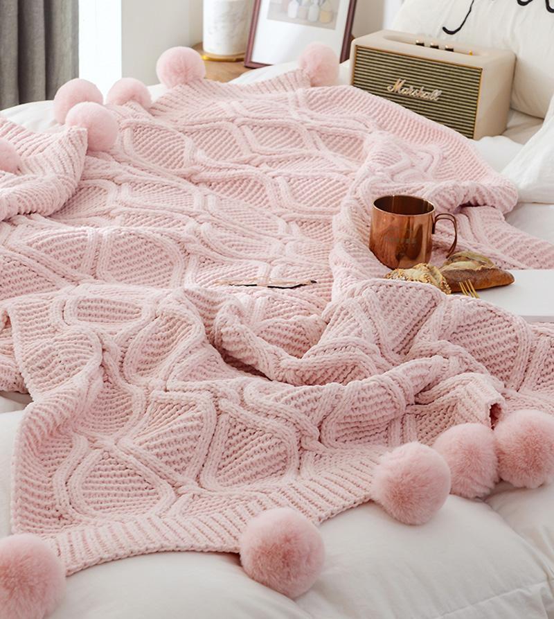 Nordique jet couverture canapé boule de poils de voyage couverture rose beige gris couvertures café couvertures conviviales enfants enveloppement