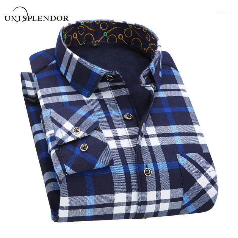 2017 4XL 5XL Men Casual Plaid Long Sleeve Shirts Spring Autumn Warm Outwear Thick Plus Cashmere Full Shirts Casual Top YN101661