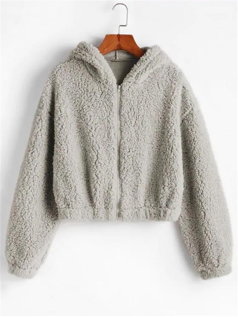 Moda-tasarımcı Bayan Hoodies Moda Doğal Colorziper Boyun Polar Hoodies Rahat Uzun Kollu Gevşek Hoodies Bayan Giyim