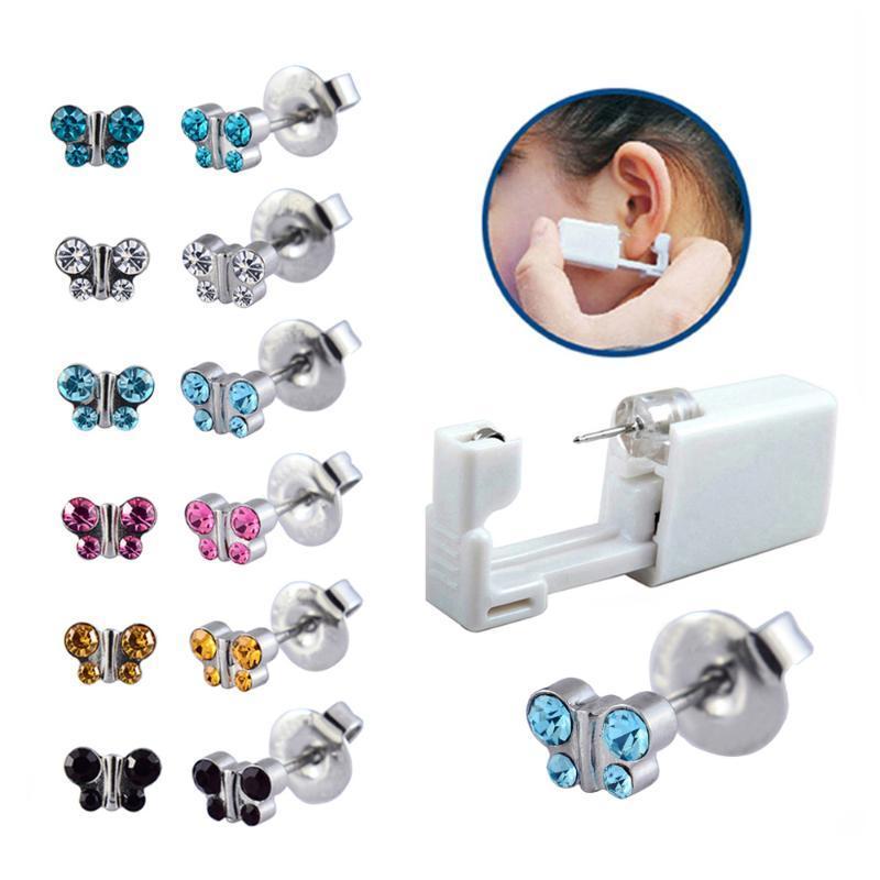 6 Adet Assoretd Kelebek Kristal Tek Kullanımlık Kulak Piercing Üniteleri Saplama Küpe Gun Araçları Kiti Vücut Piercing Takı