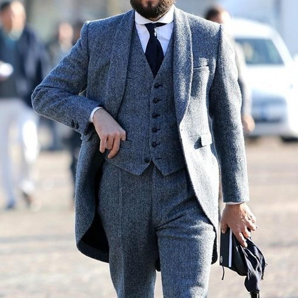 2021 Nouveau Mariage gris classique Tuxedos Herringbone Tweed Laine Hommes Costumes pour Business Formel Business Homme Ensemble Trapeaux Set (Veste + Vest + Pantalon)