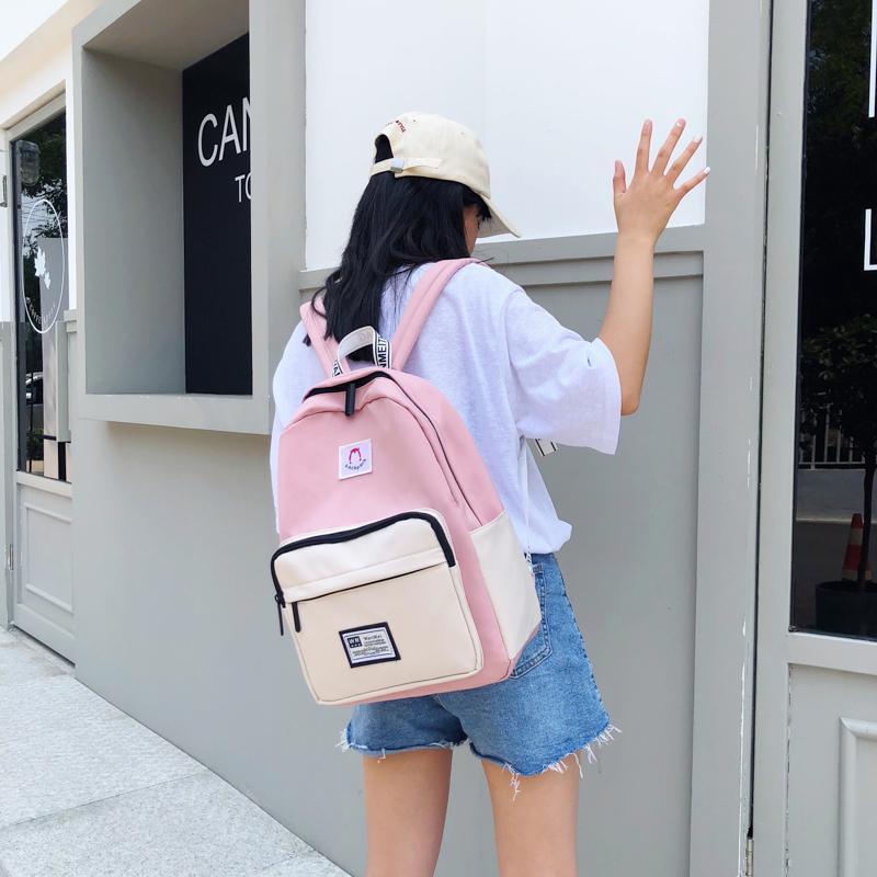 Große Taschenschule für Mochila Rucksack Frauen Teenager Nähen Kapazität Mädchen Freizeit Nylon Tasche Schultasche Sports Rucksack JSIXQ