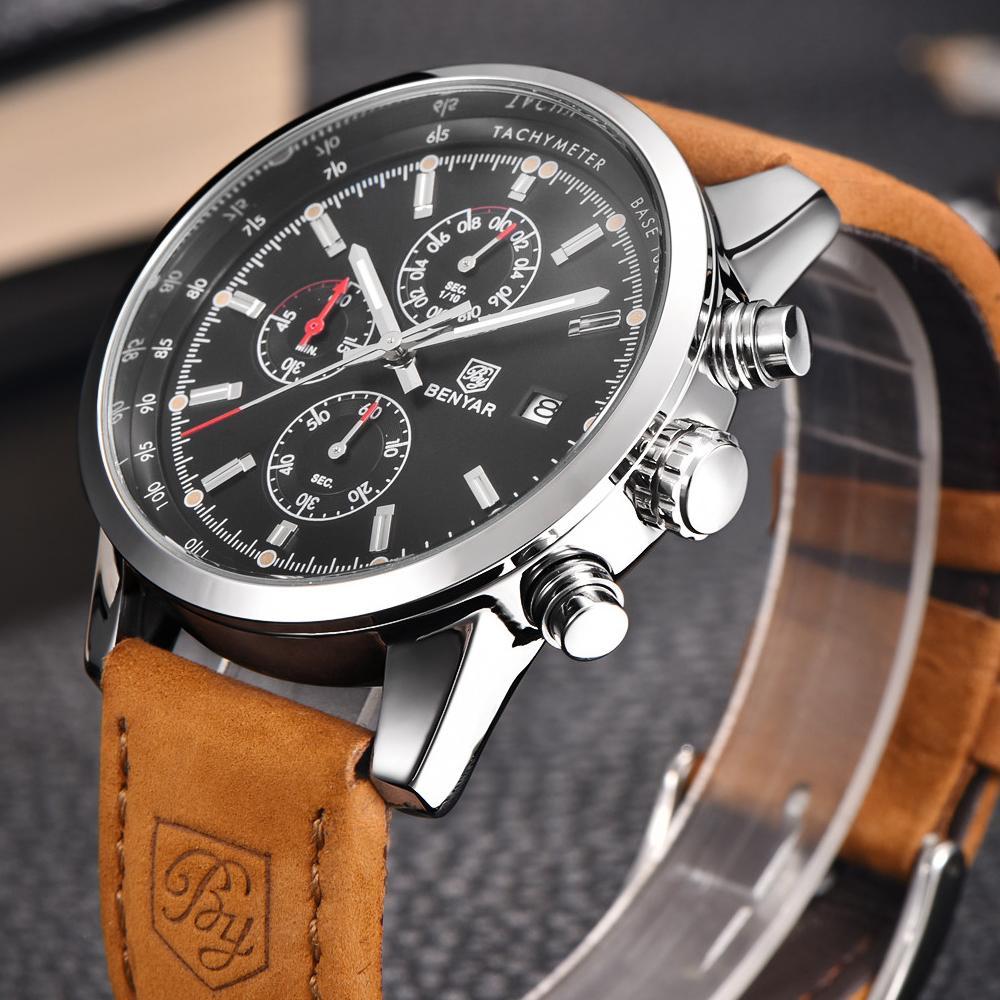 Benyar الأزياء كرونوغراف الرياضة رجل الساعات أعلى ماركة فاخرة الكوارتز ساعة reloj hombre سات ساعة الذكور ساعة relogio masculino 210303