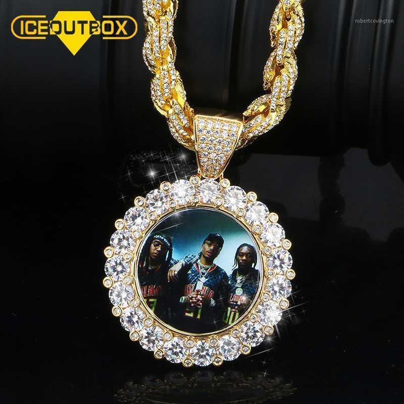 Memoria de fotos personalizada Medallones colgante sólido collar con brillo grande Cristal Hip Hop Jewelry para Hombre 8mm Big Rope Cadena Box1