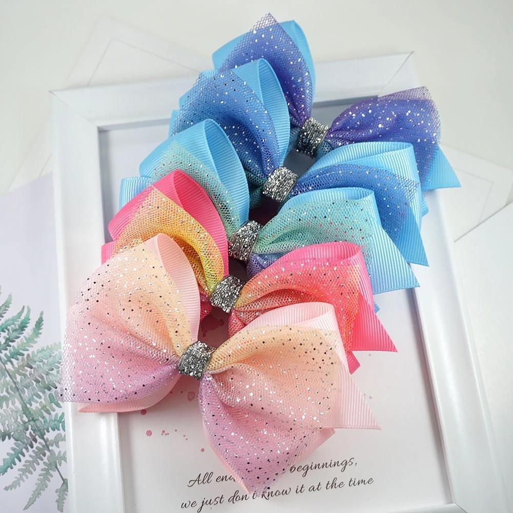 10 pcs glitter nó cabelo arcos princesa lace clipes de cabelo com pontos de bilhões de cabelo para meninas moda crianças headwear acessórios de cabelo