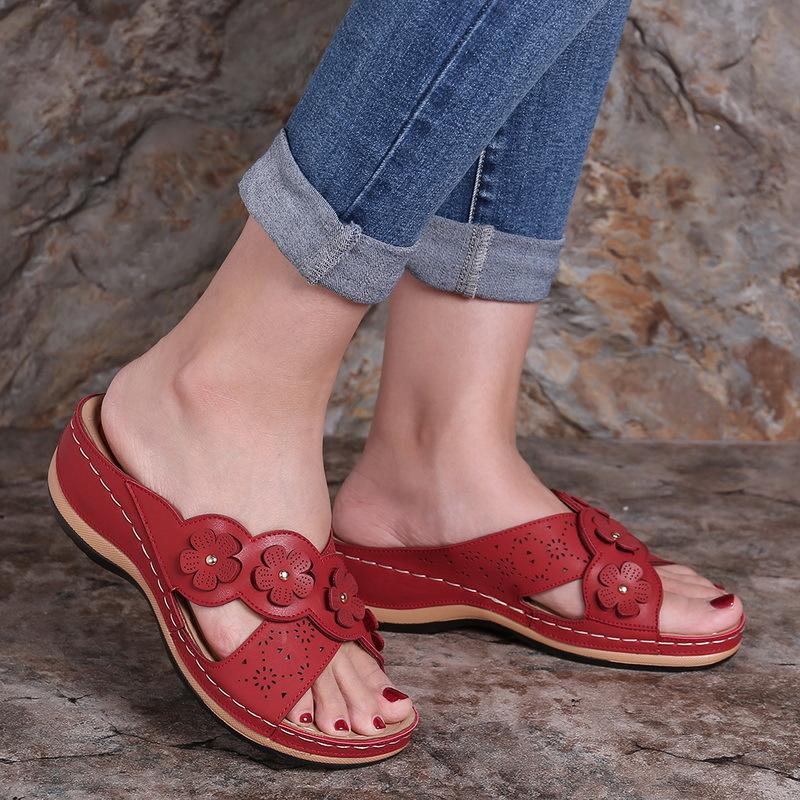 Summer Femmes Mesdames Diapositives Pantoufles Gladiator Fleur Chaussures Cendres Plateforme Flip Flip Flop Beach Mules Sandales de fête Zapatos de Mujer Y1202
