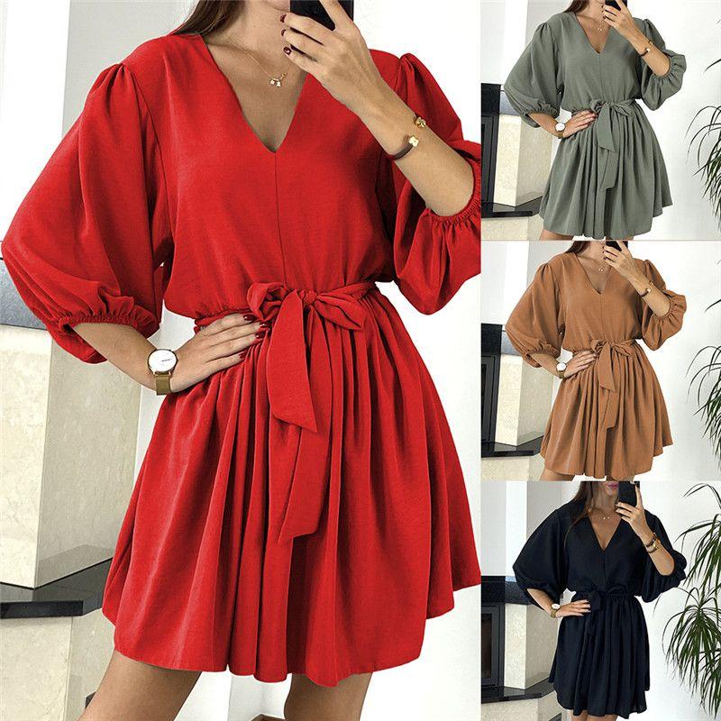 21FW Bayan Tasarımcı Elbiseler Moda Baskılı Günlük Elbiseler Bayan Gevşek Artı Boyutu Üstü Diz Mürettebat Boyun Elbiseleri