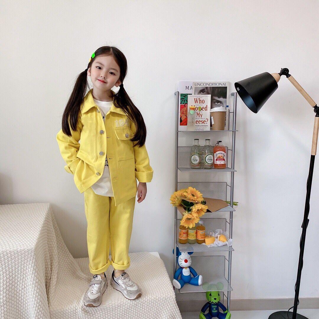 شحن مجاني الدينيم الاطفال مجموعة الملابس عارضة الأطفال قطعتين البدلة الصلبة الجينز قمم + السراويل بنين المراهقين فتاة مجموعة ربيع الخريف تراكسويت