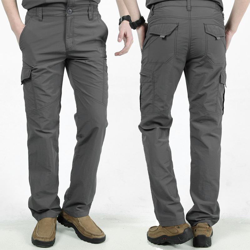 Hommes Travailler Multi-Pockets Cargo Pantalon Escalade Randonnée Randonnée rapide Dry pour l'exercice d'été H9