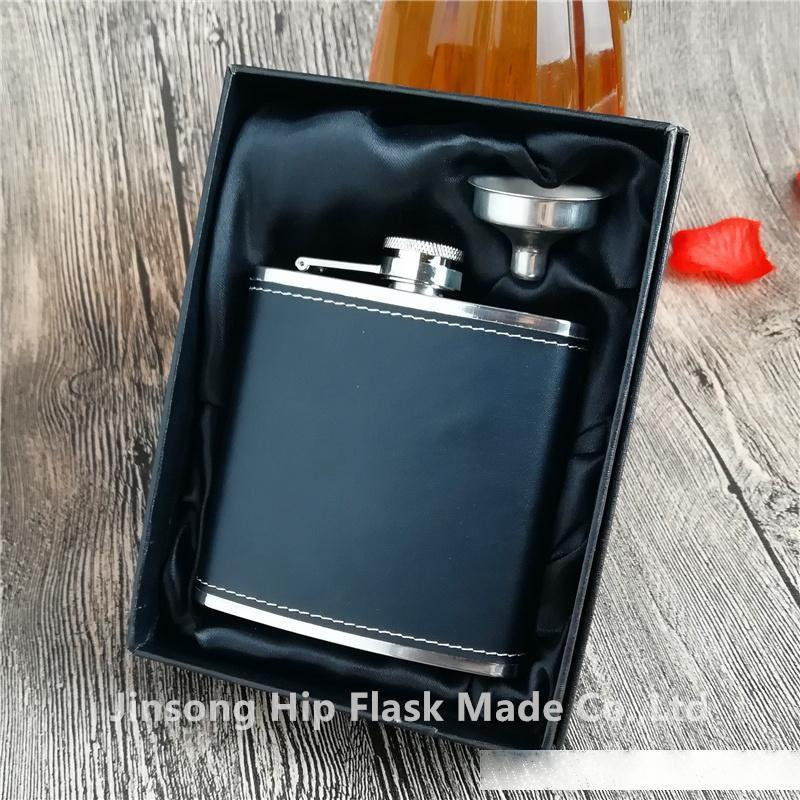 50PCS 6OZ black pU leather wrapped leather hip flask , logo free engraved