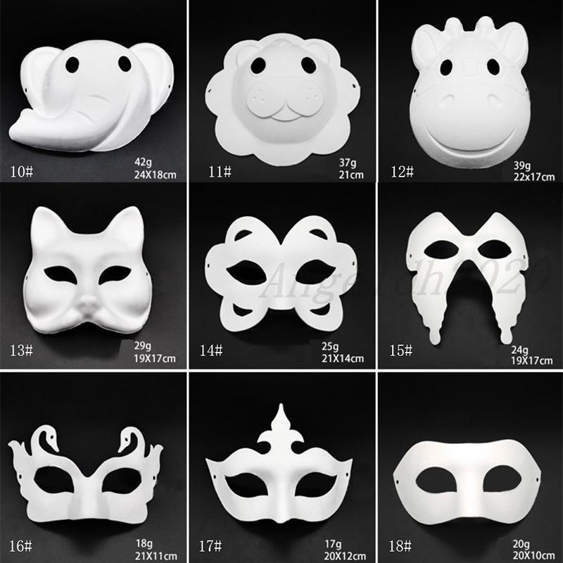 Make-up tanz weiße masken embryo mold diy malerei handgemachte maske pulpe tier hallween festival party masken weiß papier gesicht maske