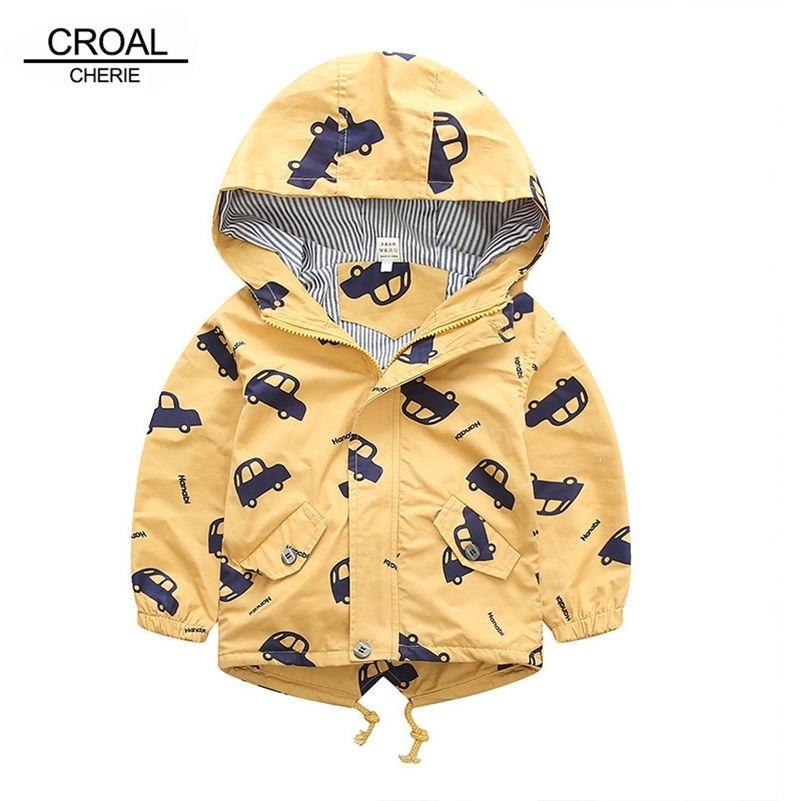 70-120 см Осенняя зимняя куртка мальчики девочек дети верхняя одежда милая машина ветровка ветровка печать холст детская детская одежда 201216