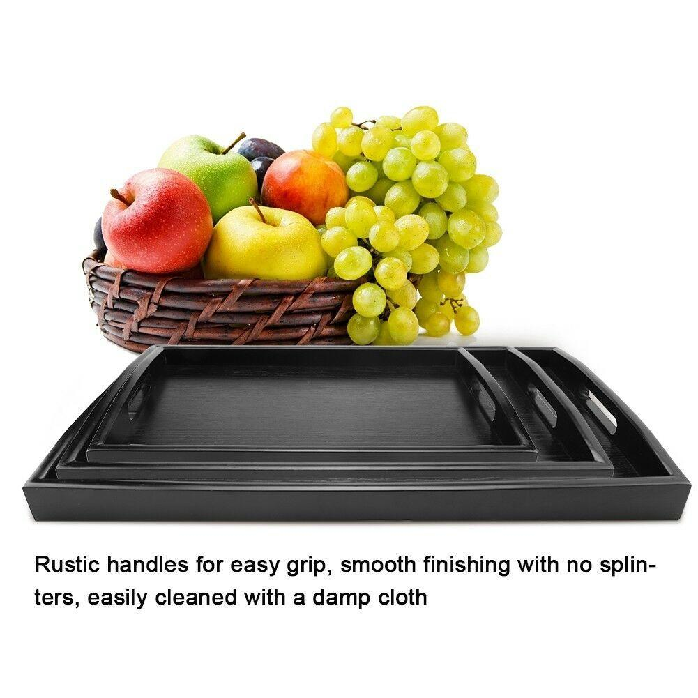 Serving Tray Large Black Wood Rectangle Food Tray Butler Breakfast Trays with Handles Easy to Grip LAD-sale W1217