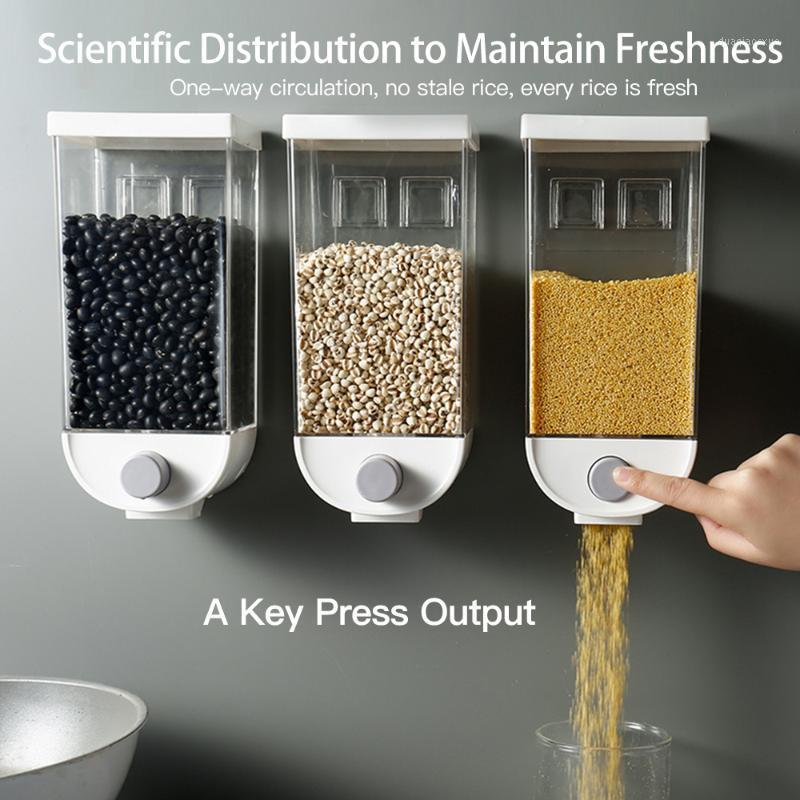 Garrafas de armazenamento frascos caixa de cozinha seca tanque 1L 1.5L grão de parede feijão de arroz Dispenser1