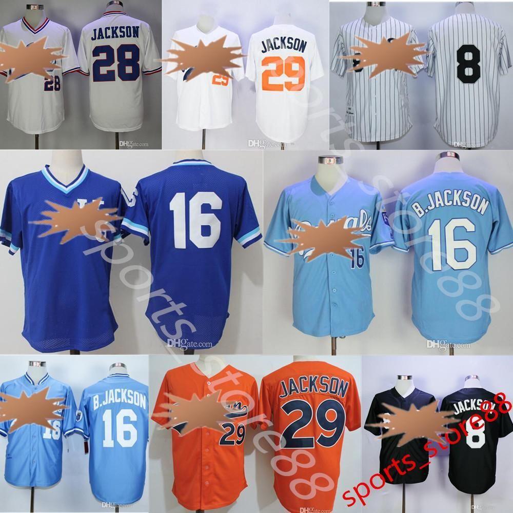 2021 Royals Baseball Jersey Mens Retro Bo Jackson White Vintage 29 ...