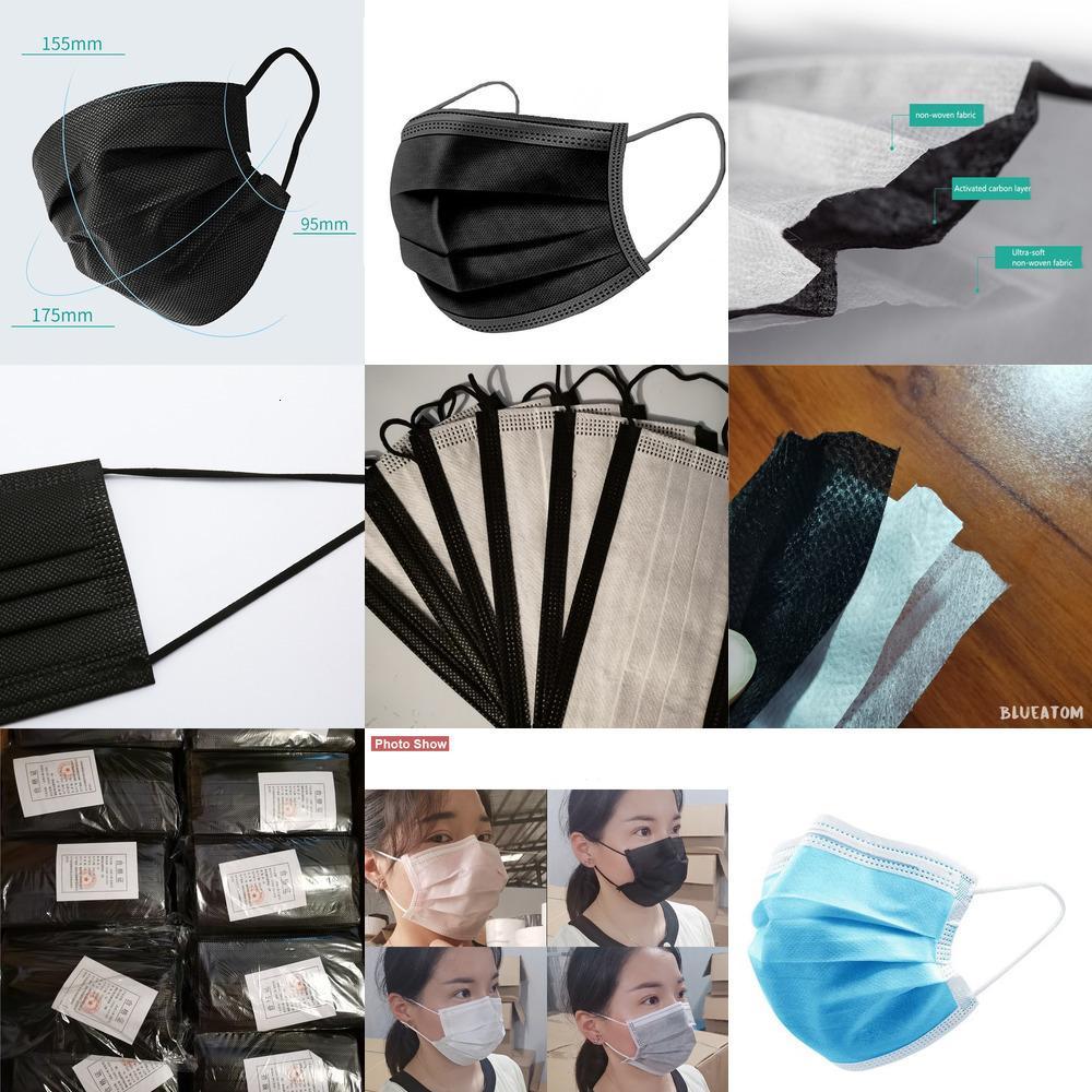 Maske Siyah Gri Earloop Yüz Tek Kullanımlık Maskeleri Pembe Nonwoven Kumaş Toz Geçirmez Nefes Ağız Maskesi