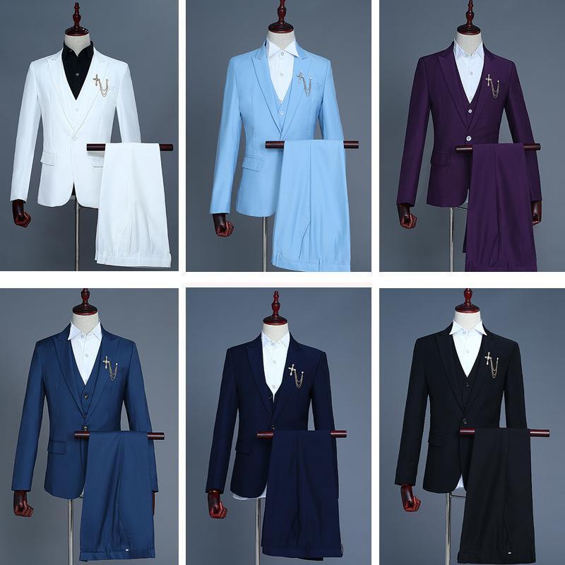 10 Renkler 2020 Klasik Erkek Wedding Suit Erkek Blazers Slim Fit Üç Parça Sahne Performansı Kostümler Suits (Ceket + Pantolon + Yelek)