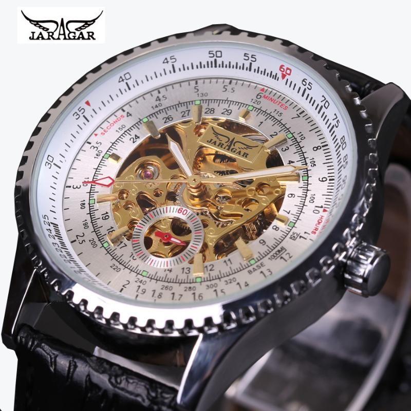Heiße Männer Uhren Top Jaragar Vintage Uhren Automatische mechanische Armbanduhren Skelette Relogio Masculino