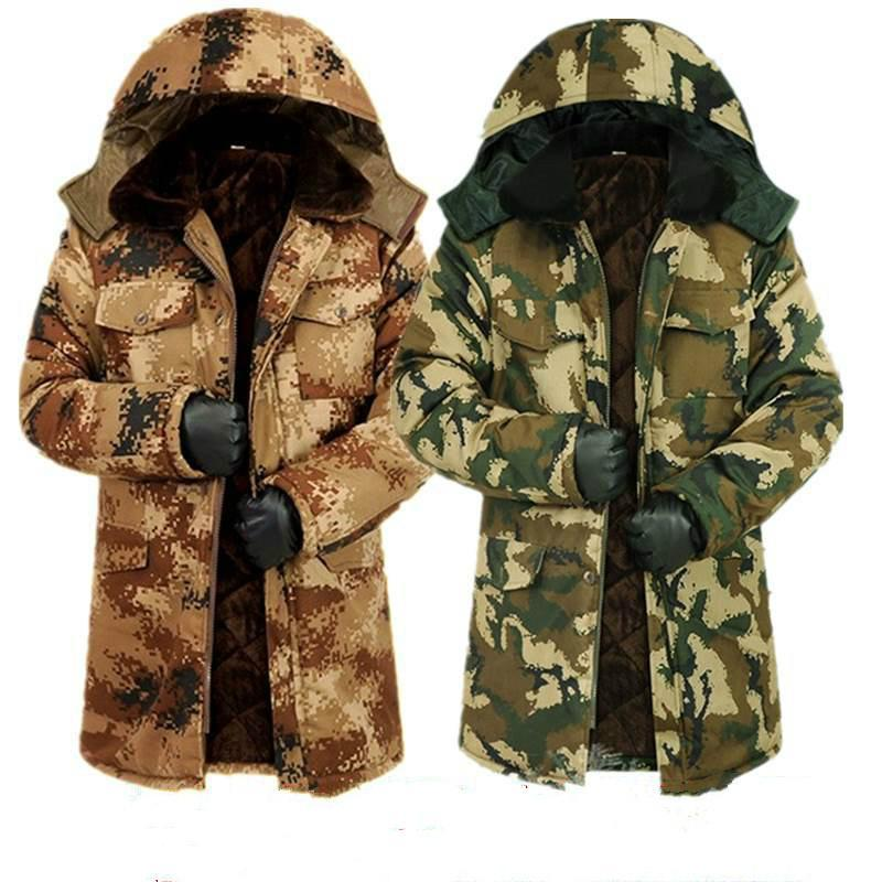 Kış artı kadife kalın kamuflaj soğuk dayanıklı pamuklu ceket orta uzunlukta yastıklı ceket orta yaşlı ve yaşlı ceket