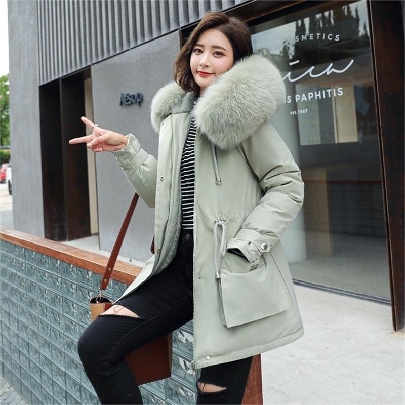 Fitaylor Новые зимние Parkas женщины большой меховой воротник с капюшоном толщина толщина хлопчатобумажная мягкая одежда -30 градусов снег